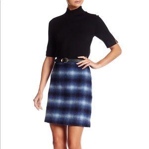 Catherine Malandrino - Blue Plaid Wool Skirt NWT